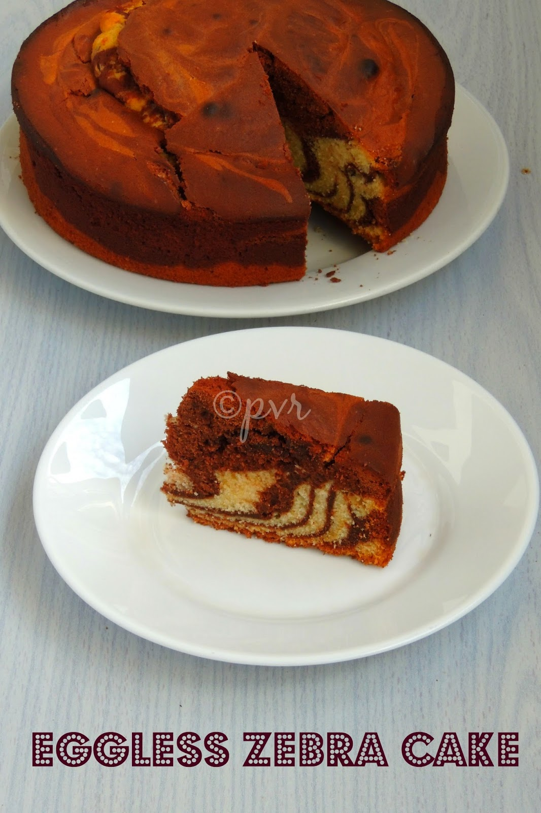 Eggless Vanilla chocolate zebra cake, Eggless Zebra cake