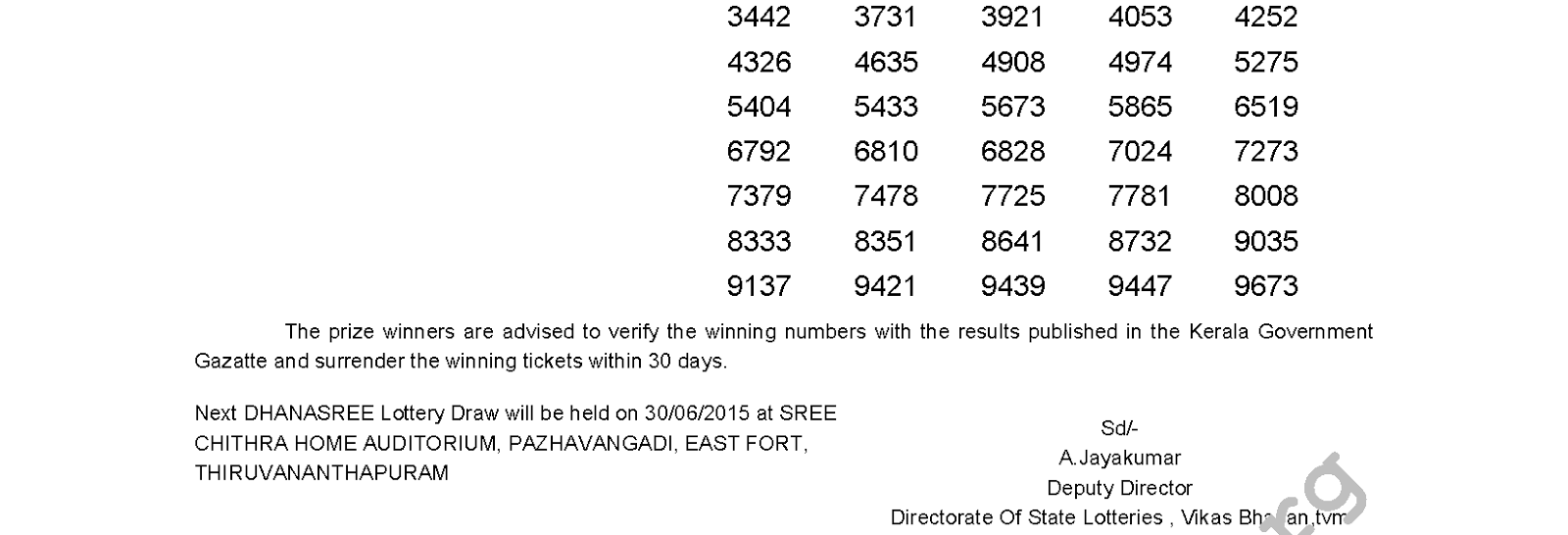 DHANASREE Lottery DS 191 Result 23-6-2015