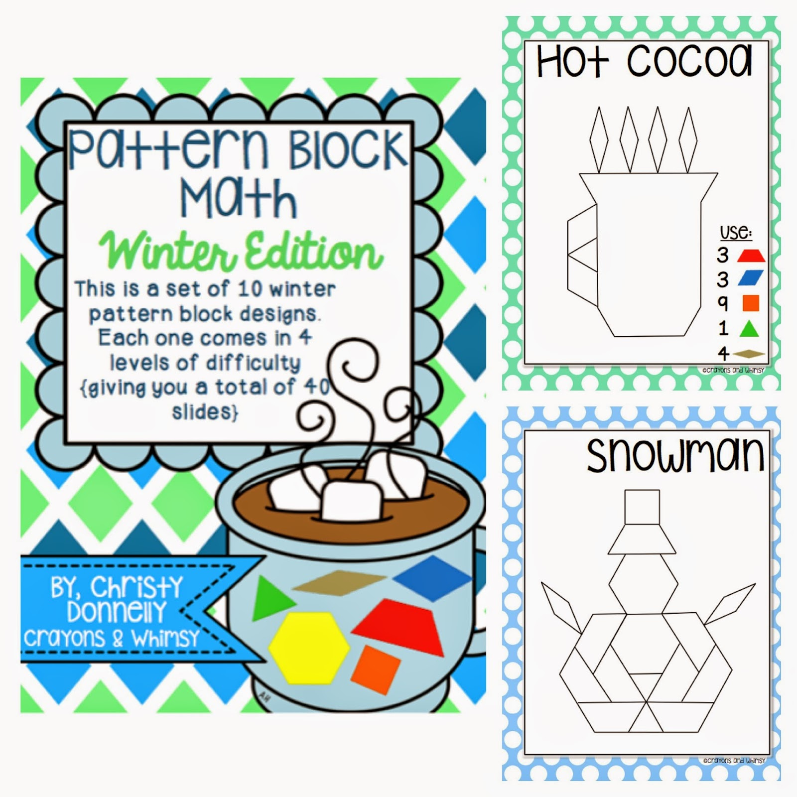 winter pattern blocks crayons and whimsy math kindergarten
