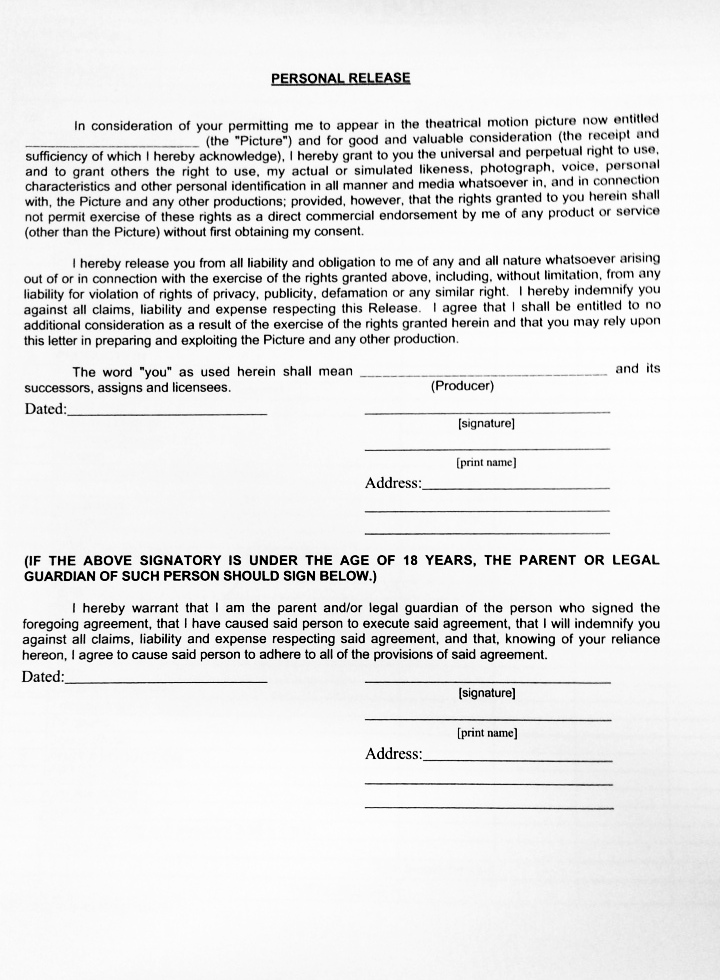 Personal Release Form For Interviewer  Personal Information Release Form