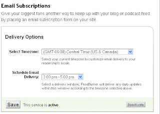 Email subscription by Feedburner ScreenShot