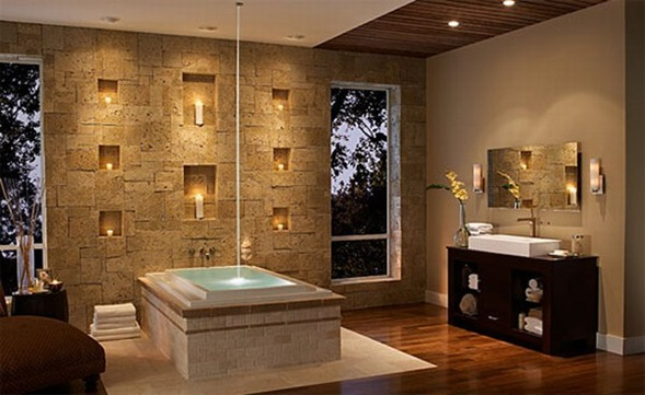 Stone Walls Interior Bathroom Design