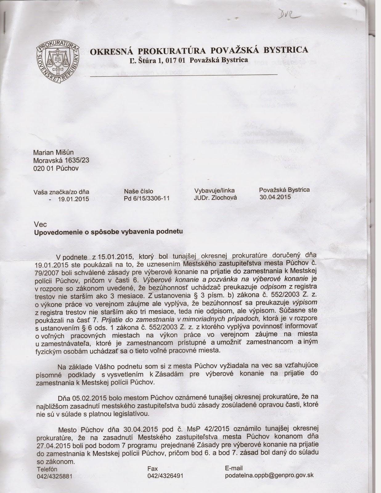 A Spravodajstvo Zasady Vyberovych Konani K Mestskej Policii Puchov