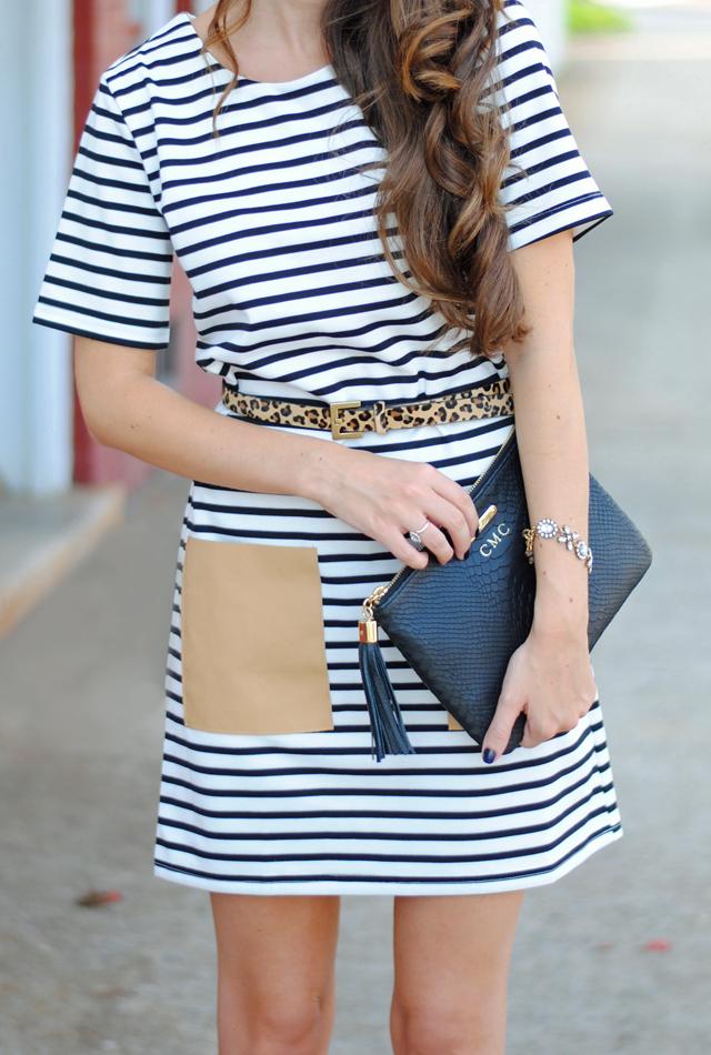 Striped dress, leopard belt