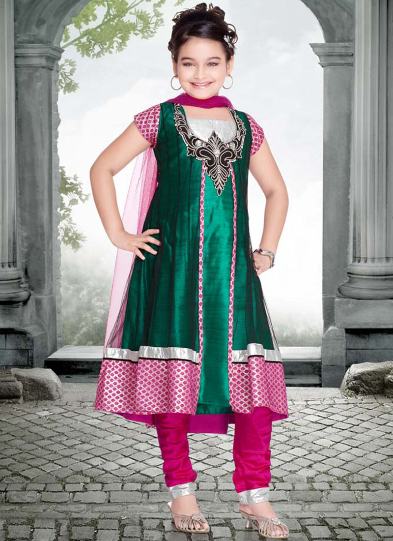 Black+and+Magenta+Net+Beautiful+Kids+Suit+-+Girls+Wear+2013 Punjabi Dress for Kids- 30 Best Punjabi Outfits for Children