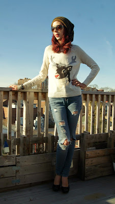 My Style!: H&M Reindeer Sweater, Noisy May Distressed Jeans from Hudson's Bay, Shop For Jayu Bracelet, holiday, fashion, winter, merry, outfit, OOTD, the purple scarf, melanieps, toronto, ontario, canada, necklace, pugs gear, Toque