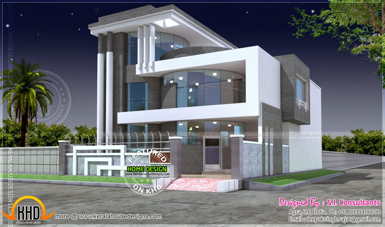 Unique luxury home design kerala home design and floor plans for Luxury house plans with photos