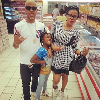 Toyin Lawani, Fiance And Daughter Step Out