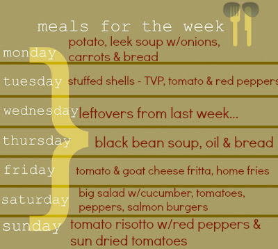 vegetarian menu planning, meals for the week, fall soups and fall menu