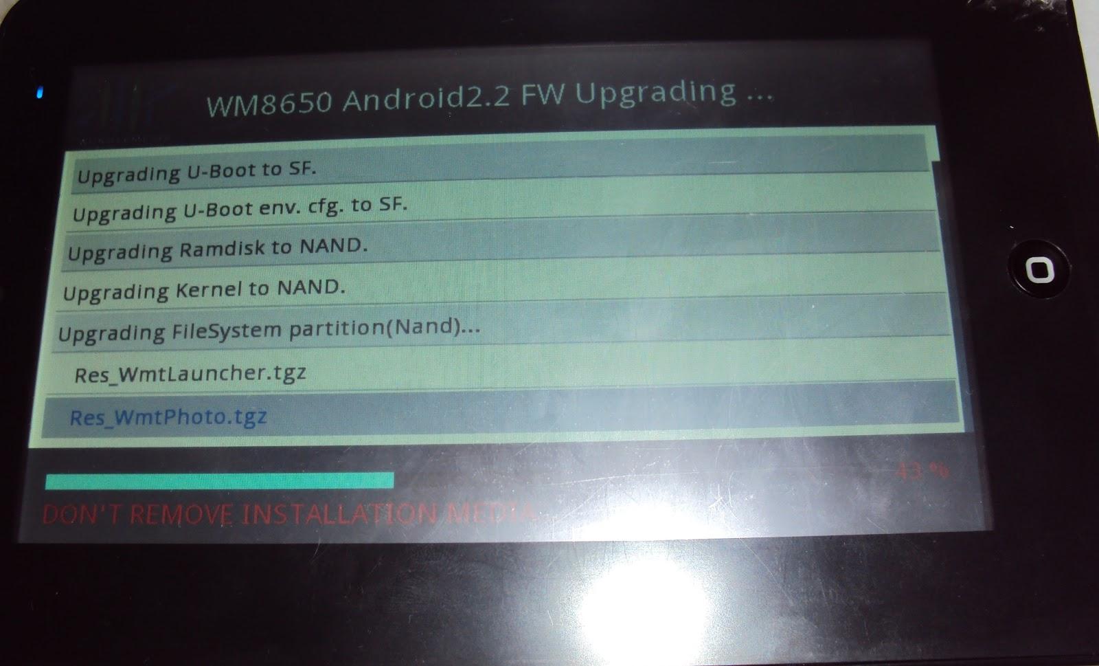 com Tablet Android TM OS 2.2, Kernel 2.6.32, Build Number V1.3.1