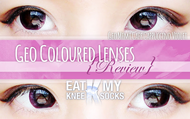 A review of the Geo Mimi Cafe Cappuccino Violet/Red circle lenses from Geo Coloured Lenses, brought to you by Eat My Knee Socks/Mimchikimchi!