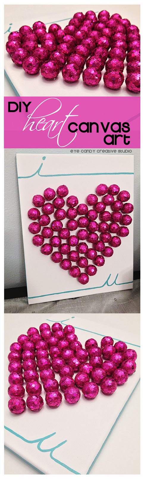 DIY heart canvas art, pink scatters hearts, teal valspar paint, gift idea, the love holiday