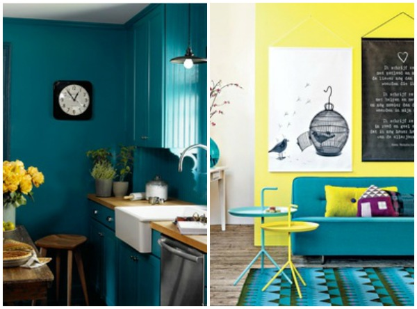 teal and yellow color inspiration