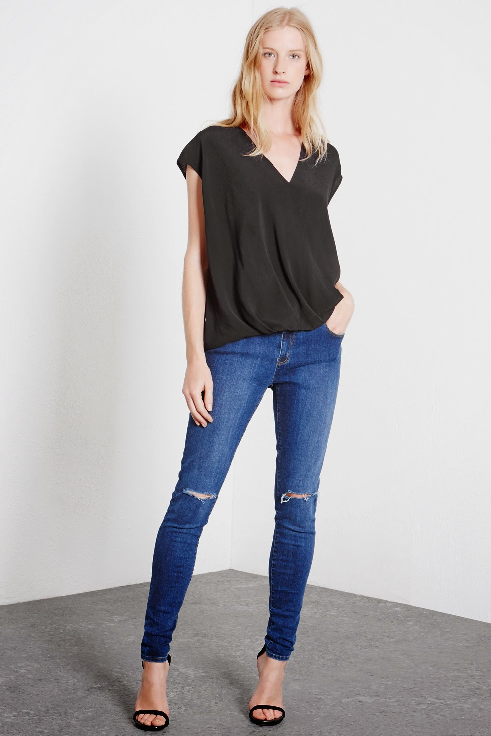 warehouse black drape top, warehouse black wrap top,