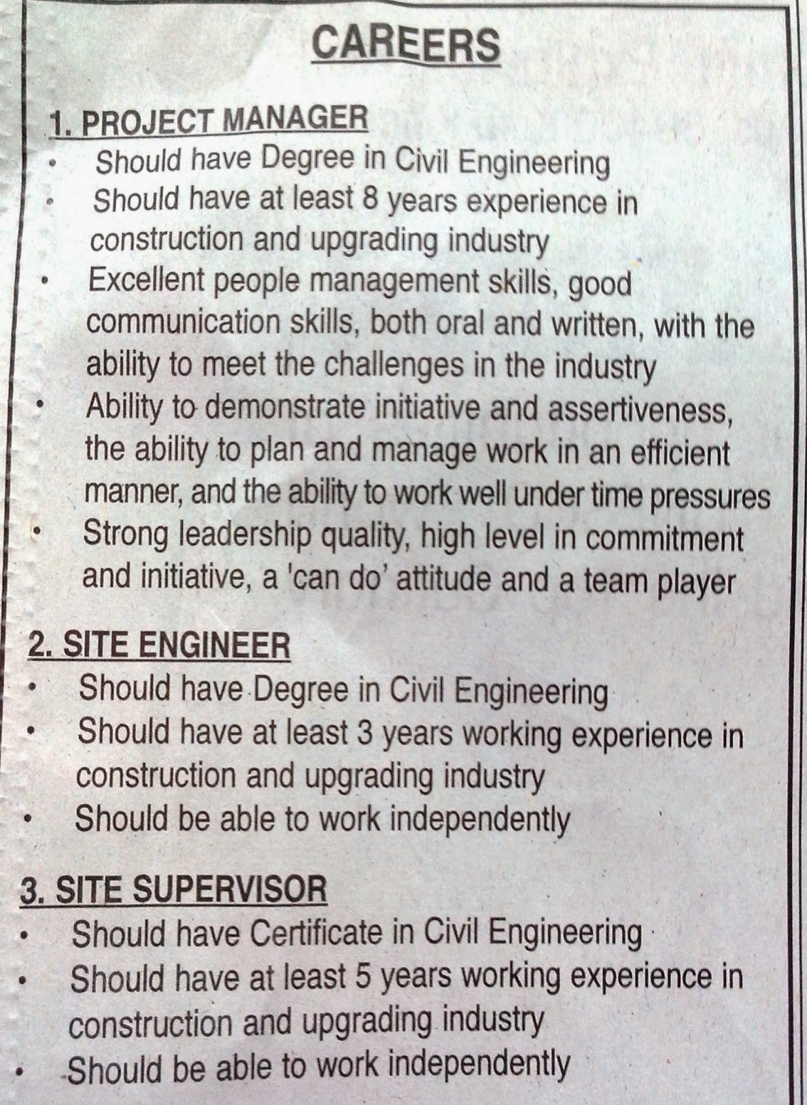 SABAH VACANCY 2014 : JOB VACANCY AT KOTA KINABALU CONSTRUCTION