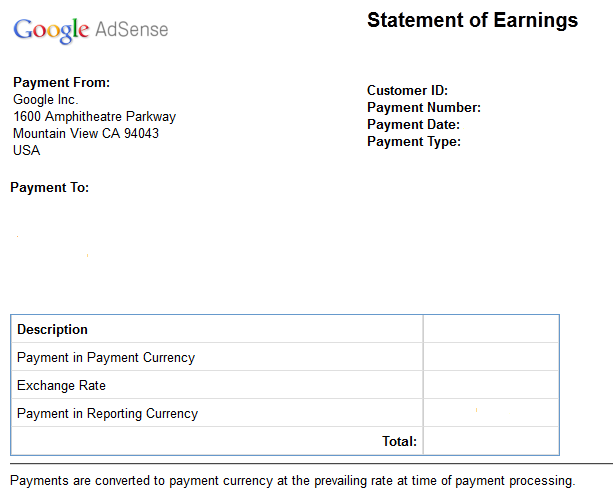 How Google Adsense Statement of Earnings Format is Looking – Statement of Earnings Template