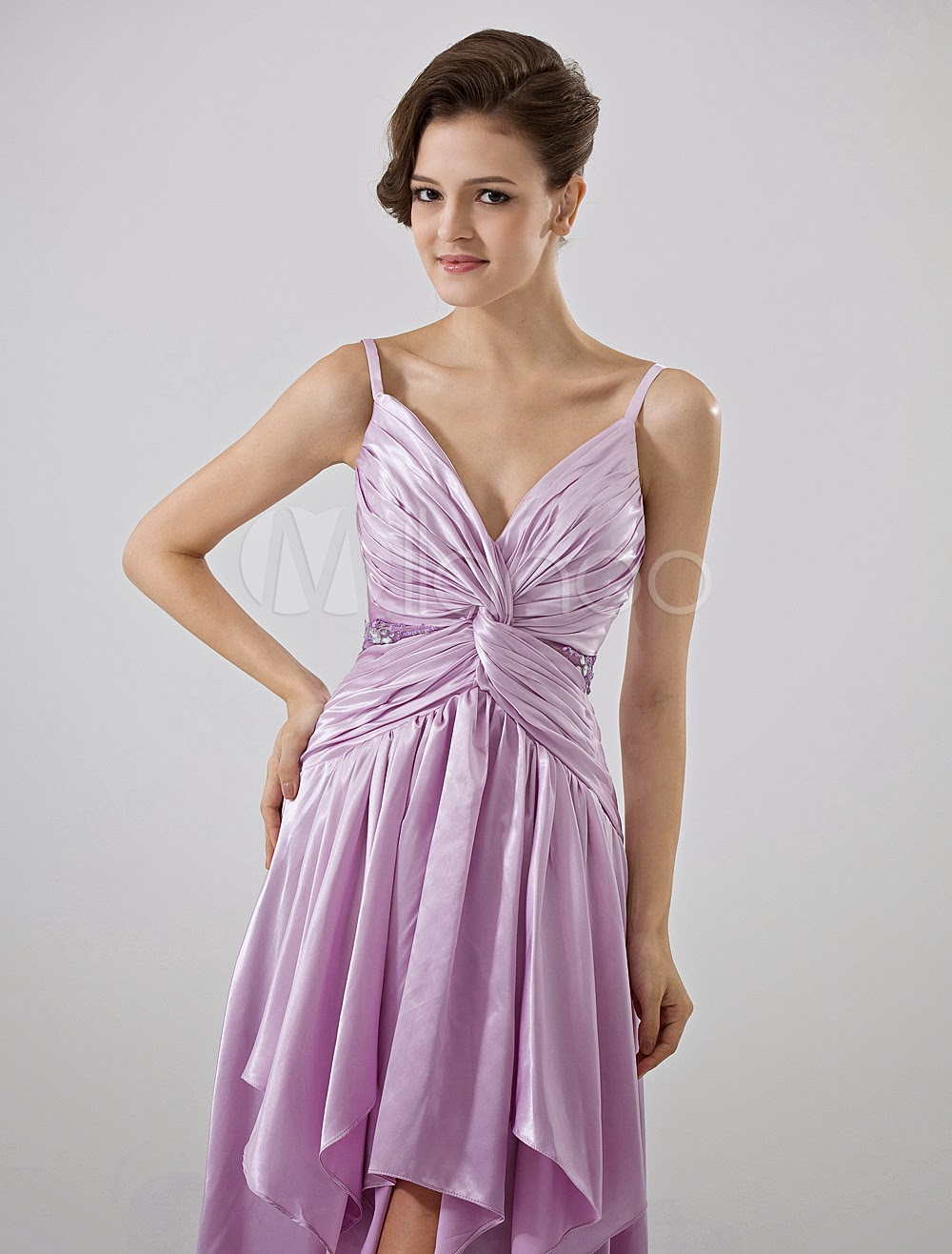 China Wholesale Dresses - Lilac A-line Spaghetti Asymmetrical Hemline Chiffon Homecoming Dress
