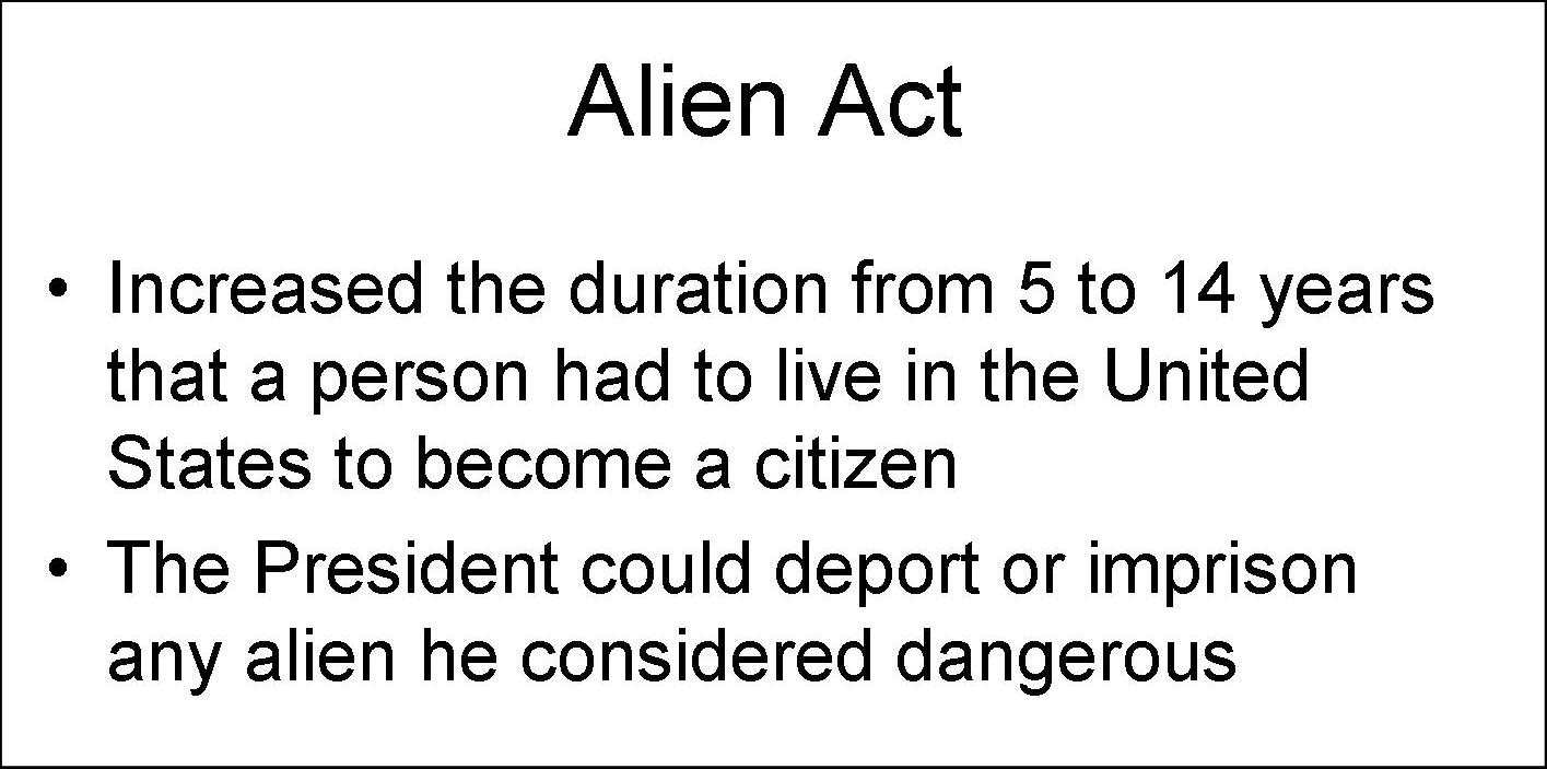 alien sedition acts In 1798, jefferson predicted the consequences of the passage of the sedition (and alien) act in one of the excerpts reviewed above: if the alien and sedition acts.