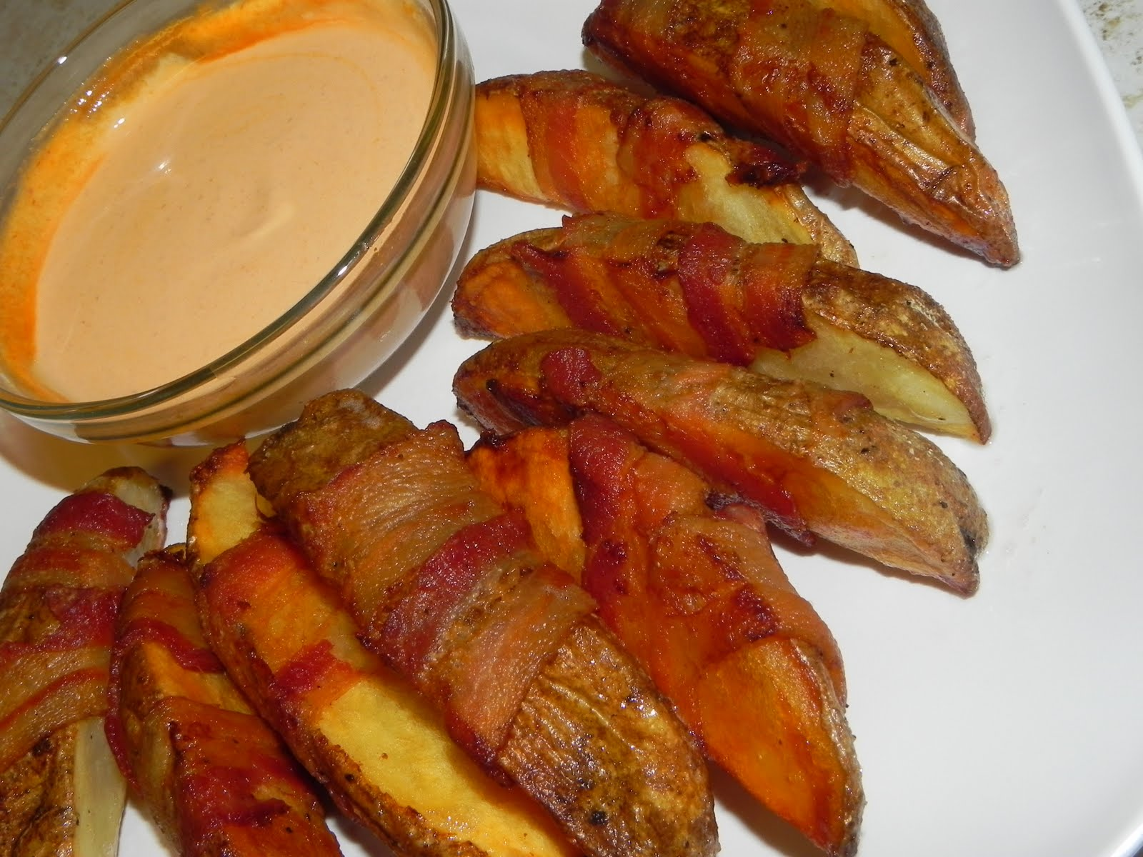 Baked bacon wrapped potato w/spicy dipping sauce | Simply Filipina