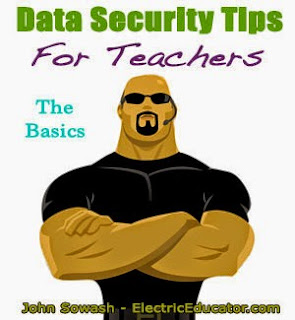clip art of a man with the text date security tips for teachers in the upper left hand corner