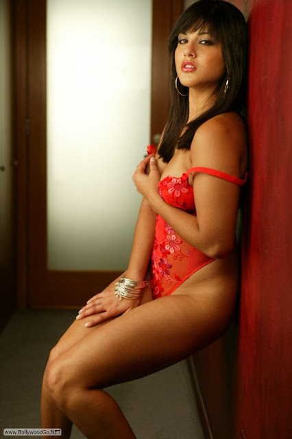 Sunny Leone Hot Photos from Red Teddy Posing In Hallway