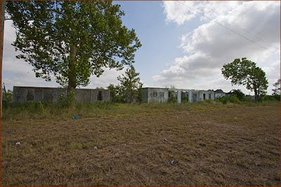 Ruins of the old Wagon Wheel motel turned brothel along the north side of Interstate 10 west of Sealy. The Wagon Wheel was closed down by Marvin Zindler at the same time as the more famous Chicken Ranch in La Grange, Texas.