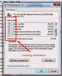 pilih file log sampah untuk di hapus