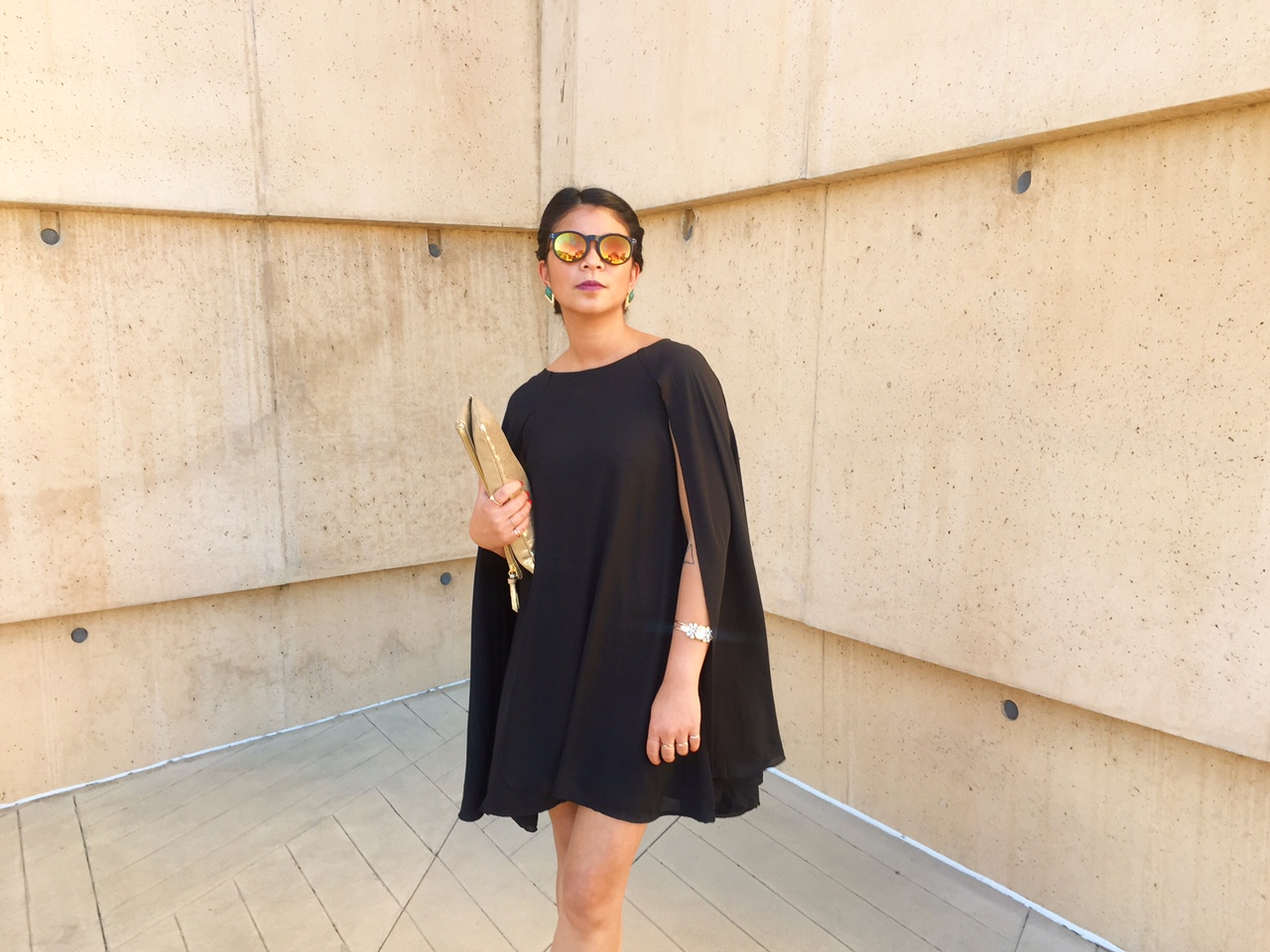 black cape dress, wedding, gold jewelry, gold clutch, portland blogger, los angeles, affordable fashion, portland style blogger, the ptown girls, ootd,