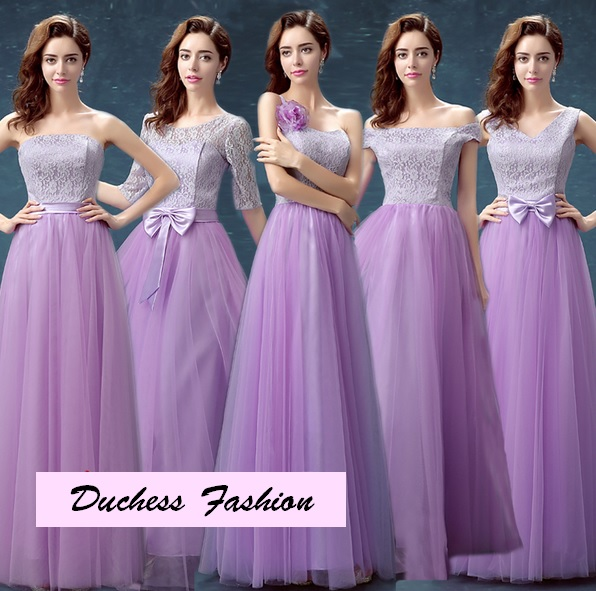 5-Design Light Lilac Top Tutu Lace Bridesmaids Maxi Dress