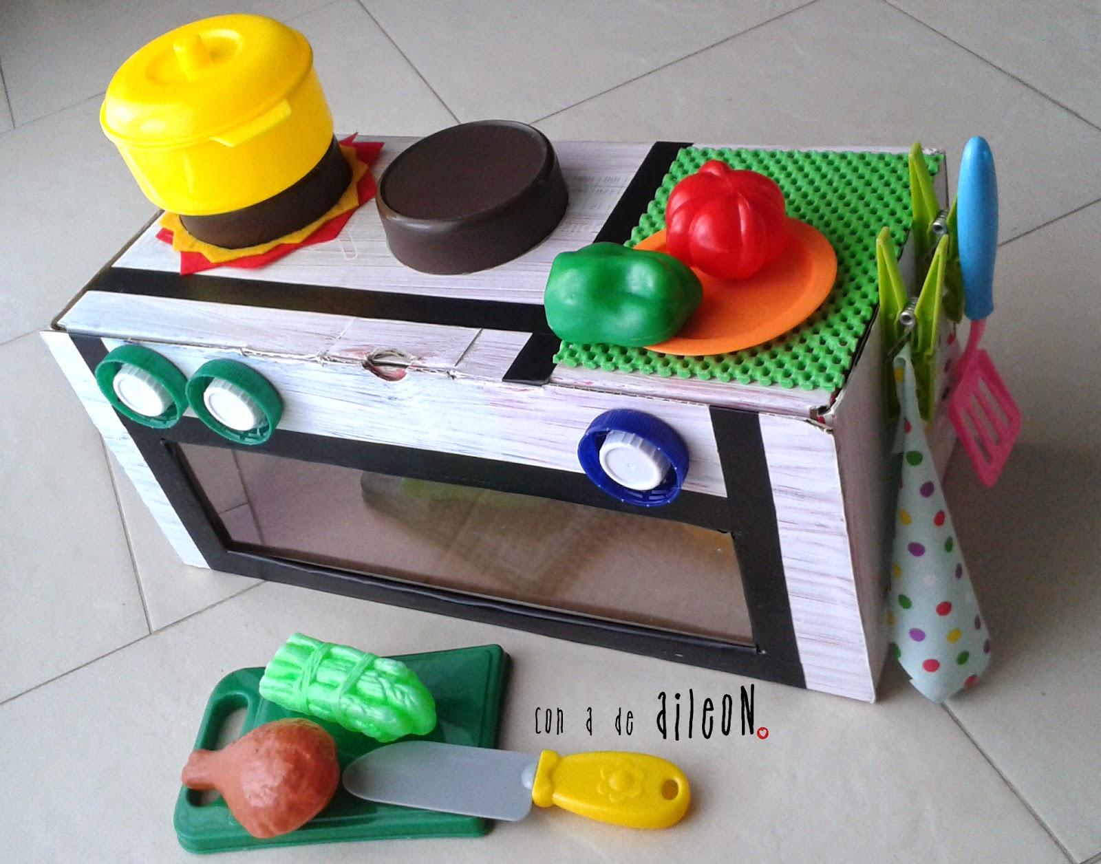 recycled kitchen, diy kitchen, children, niños, cocina reciclada, juguete casero