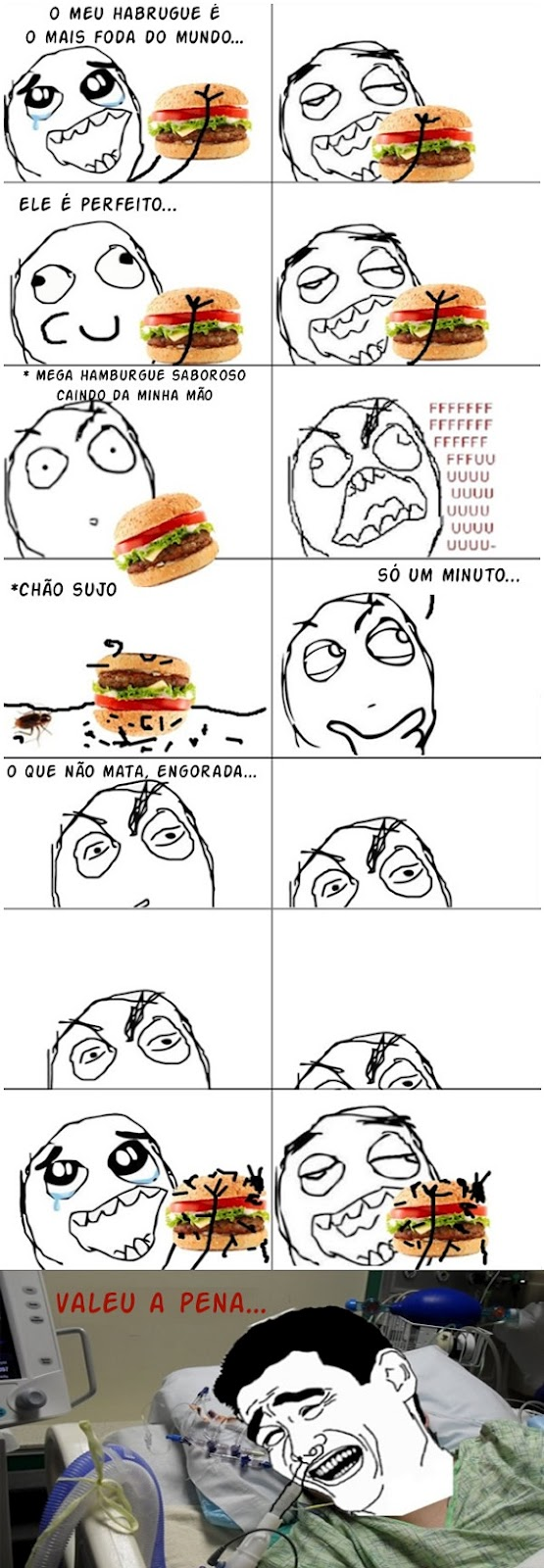 Tirinha do blog Vida de Meme: O hamburguer mais foda do mundo