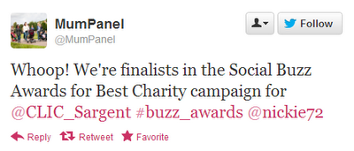 mum panel, twitter, Social Buzz Awards, Clic Sargent,