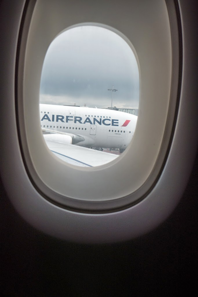 airplane window Air France JFK airport