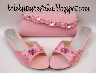 Pink AYu Cantik dan Elegant Mewah Tas Pesta dan Slop Pesta