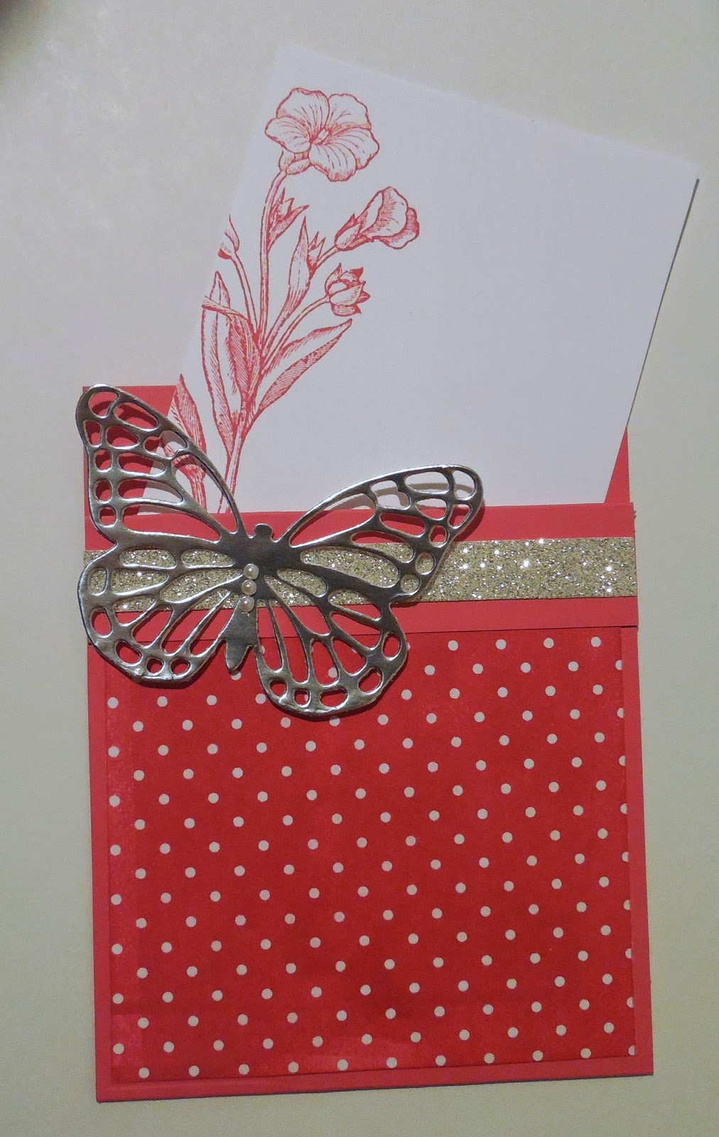 card made with Stampin'UP!'s Butterfly Basics stamp set and Die and Irresistibly Yours Designer Paper