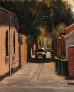 Oil painting of a car in a laneway with green bins towards the foreground and Victorian-era houses on either side with overhanging trees.
