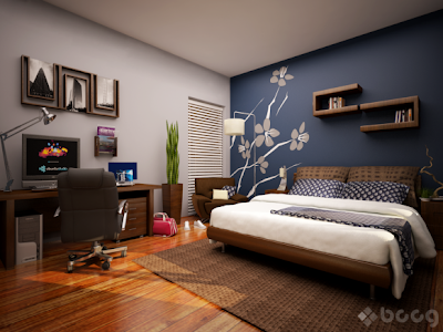������ ���� 2012,��� ������ ����� Cool-bedroom-with-skylight-blue-accent-wall-mural-582x436.png