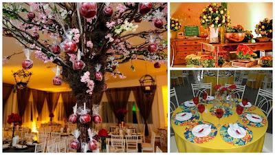 decoração árvore de maçã do amor arraiá de núpcias flores de papel crepom casamento julino
