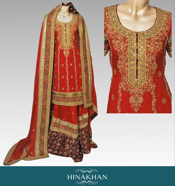 Neo bollywood bridal lehenga bridal dresses hina khan collection