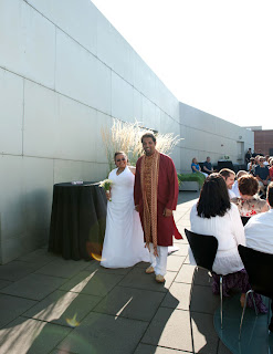 Manoj and Tameka recess after their wedding ceremony