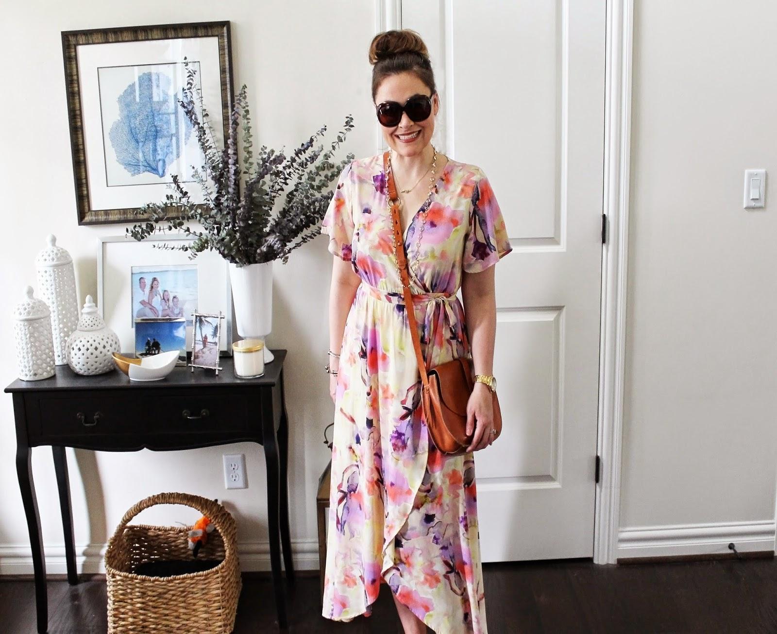 Madewell Crossbody Bag, Tom Ford Bianca Sunglasses, Oversized Sunglasses, Floral Wrap Dress