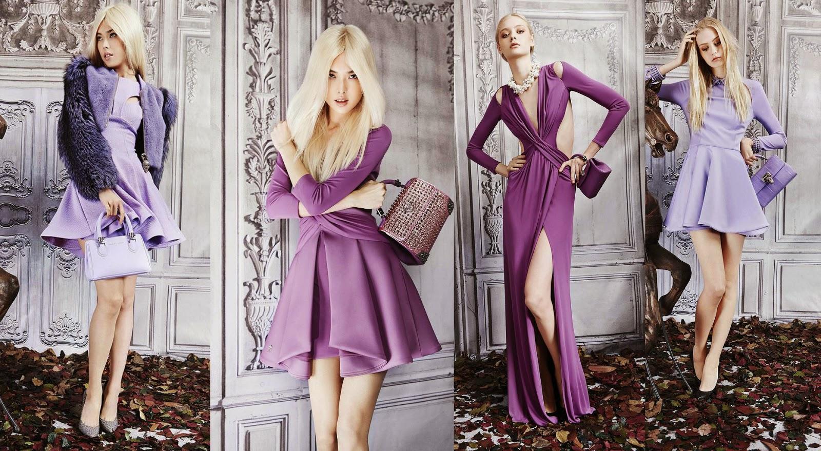 philipp plein, pre fall, 2015, style, fashion, colour palette, purple, black, white, dresses, design