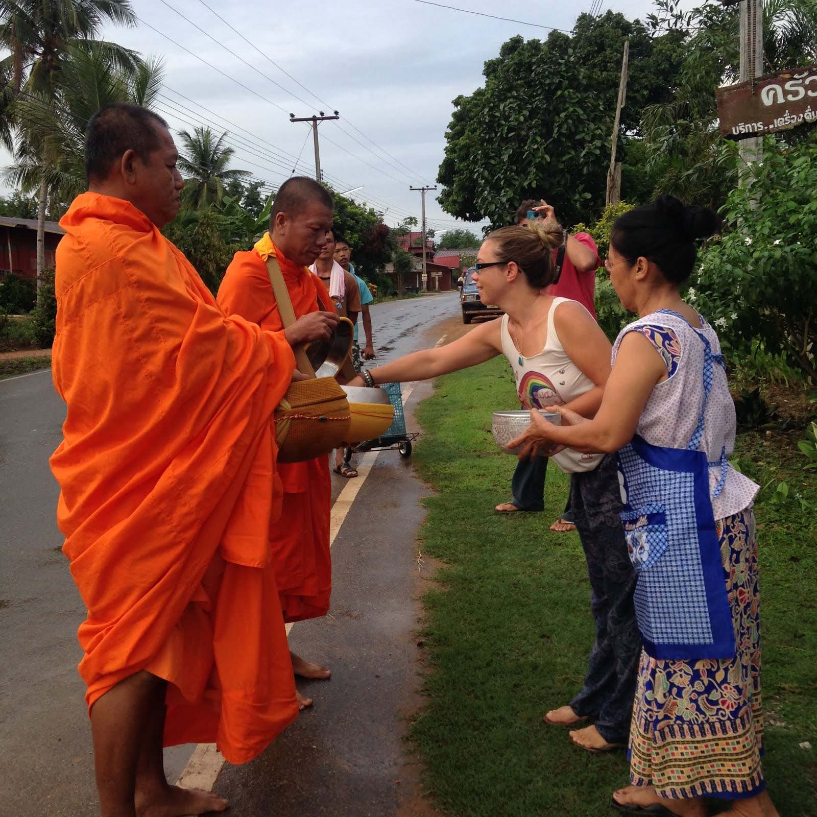 Give food to the monks