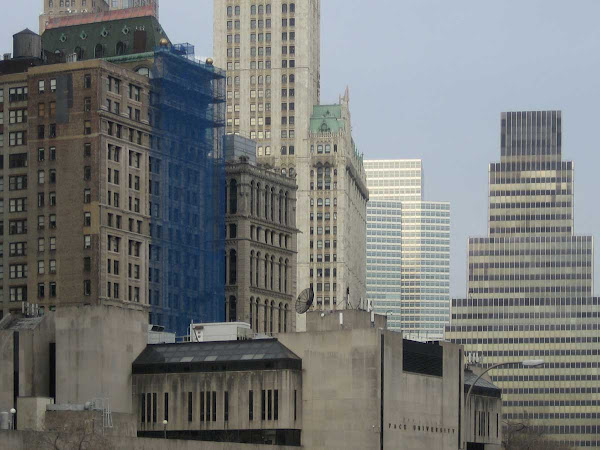 West from Brooklyn Bridge - The Woolworth Building past the Pace U. blockhouse.