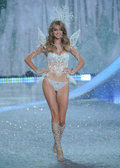 Lindsay Ellingtion wearing a 3D printed costume by Swarovski during the Victoria's Secret Fashion Show