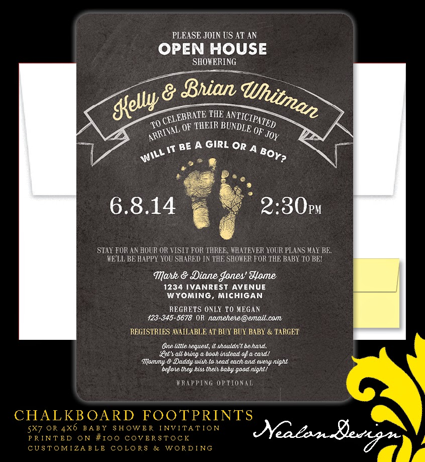 Nealon Design: CHALKBOARD FOOTPRINTS Baby Shower