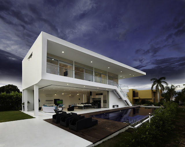 Modern home and swimming pool from the terrace