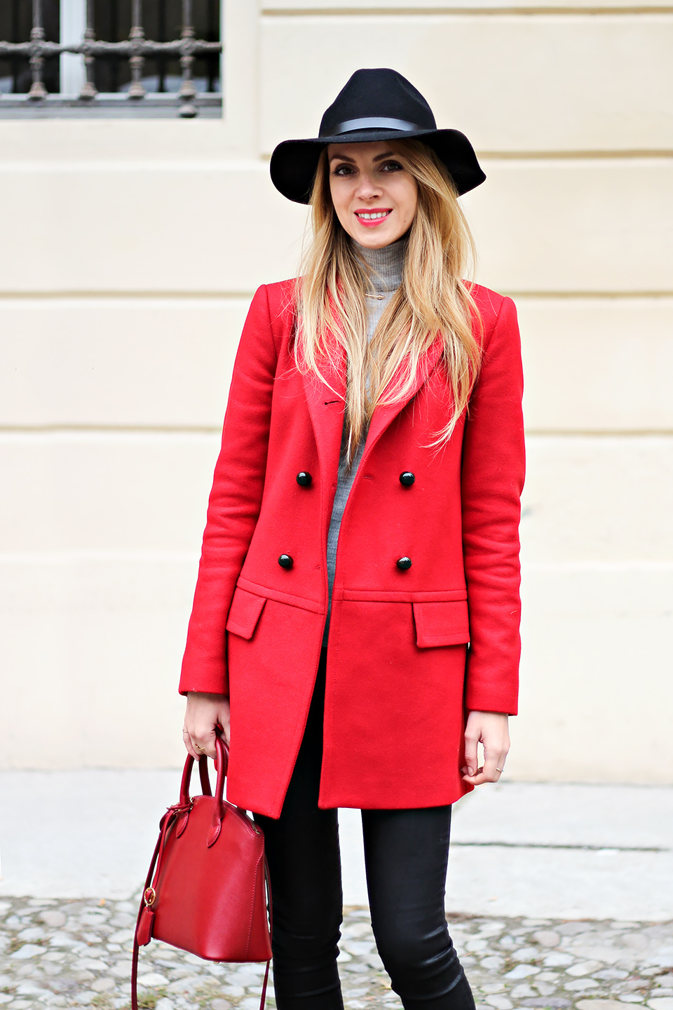 red Zara coat, black fedora hat, fall outfit, fashion blog