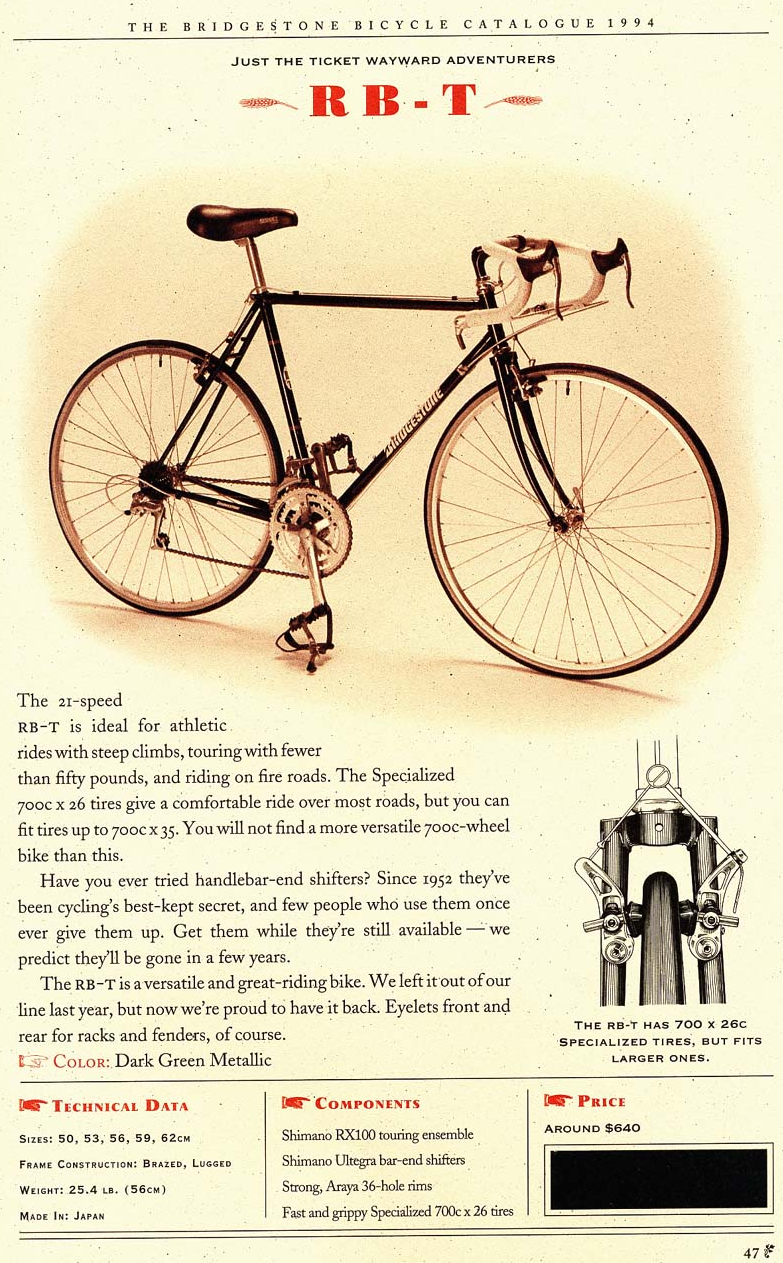 Bridgestone Bicycle Catalog 1994 Bridgestone Catalog Page