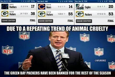 due to a repeating trend of animal cruelty the green bay packers have been banned for the rest of the season. #Packers #animalcruelty #banned